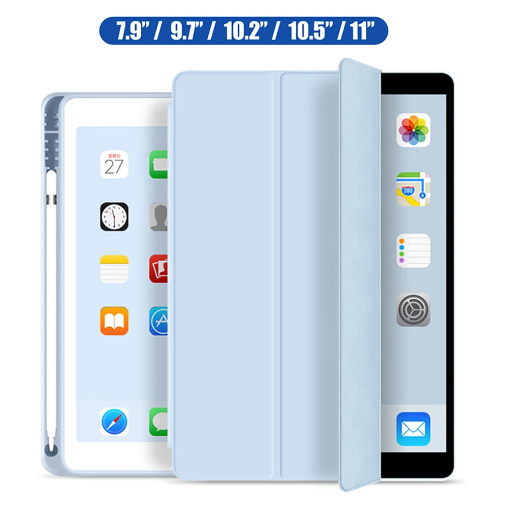 PROTECTIVE CASE FOR 2019 IPAD 10.2 7TH 2018 2017 9.7 MINI 4 5 2020 PRO 11 10.5 AIR 3 CASE FOR IPAD 5TH 6TH GENERATION SMART COVER IPAD CASE WITH PENCIL HOLDER.