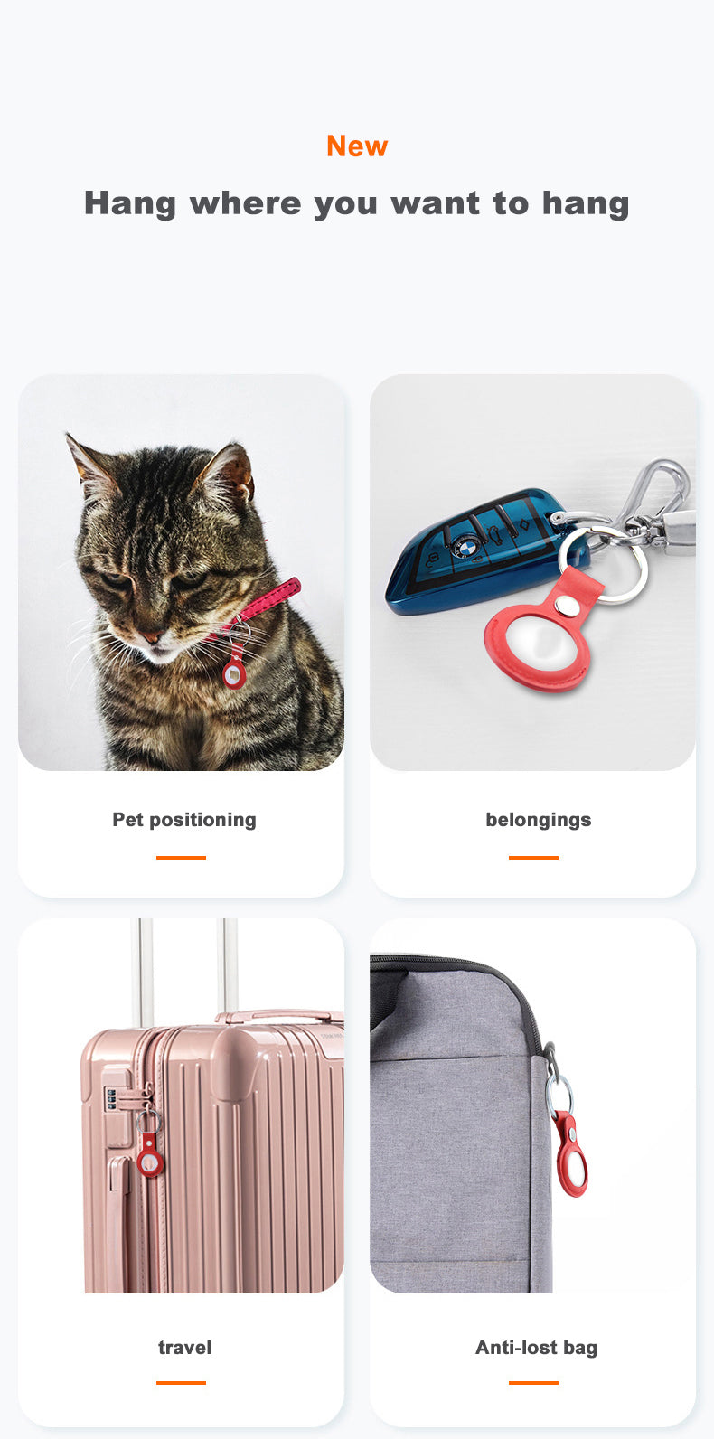 Protective Leather Case For AirTag Tracking Device Keychain Cover For Air Tag Tracker