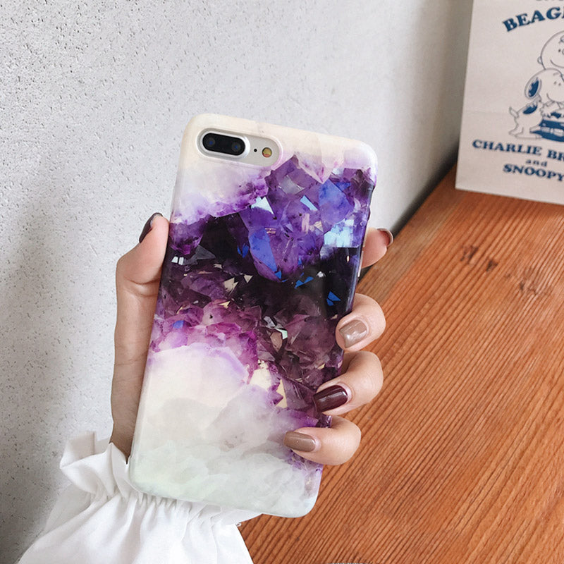Purple Dream Crystal Amethyst Phone Case For iPhone X XR XS Max Case For iPhone 8 6 6s 7 Plus Fitted Case Soft Glossy Cases For iPhone