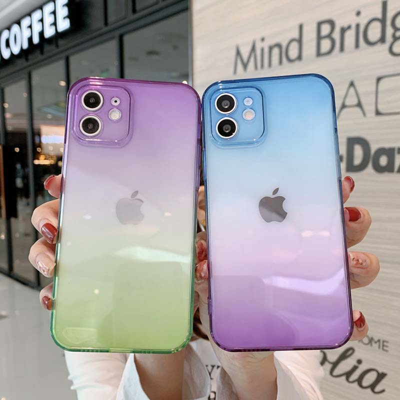 Rainbow Gradient Soft Silicone TPU Translucent Back Case For iPhone 12 11 13 Pro Max Mini X XR XS Max 7 8 Plus Case For iPhone