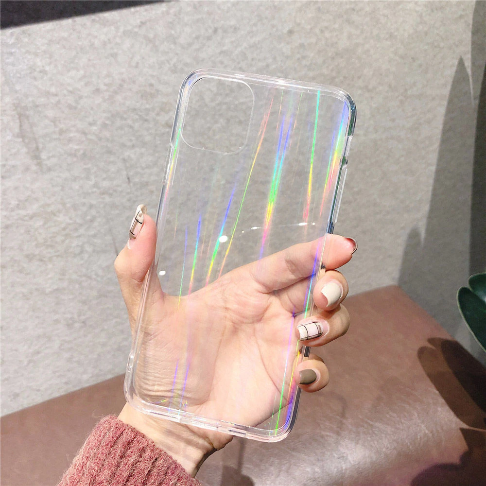 Rainbow Laser Aurora Gradient Case Transparent Cover For iPhone 11 Pro Max XR X XS Max 7 8 6 6S Plus Soft Clear Shining Acrylic Cover Fitted Case for iPhone