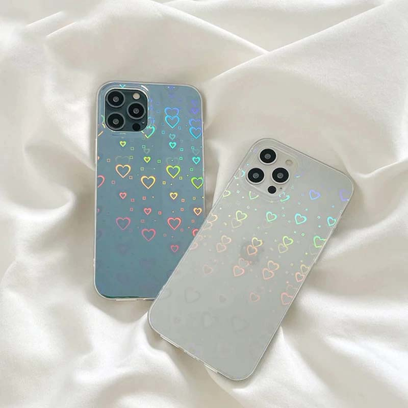 Rainbow Laser Love Hearts Luxury Transparent Phone Case For iPhone 13 12 11 Pro Max XS Max XR X 7 8 Plus SE 2020 Soft Shockproof Cover For iPhone