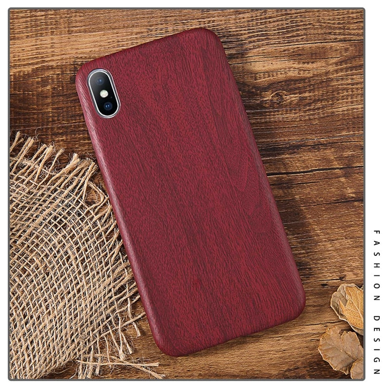 Realistic Natural Woodgrain Case For iPhone XS Max XR X 6 6S 7 7 Plus 8 Plus Soft PU Silicon Soft Phone Case For iPhone Luxury Retro Back Cover