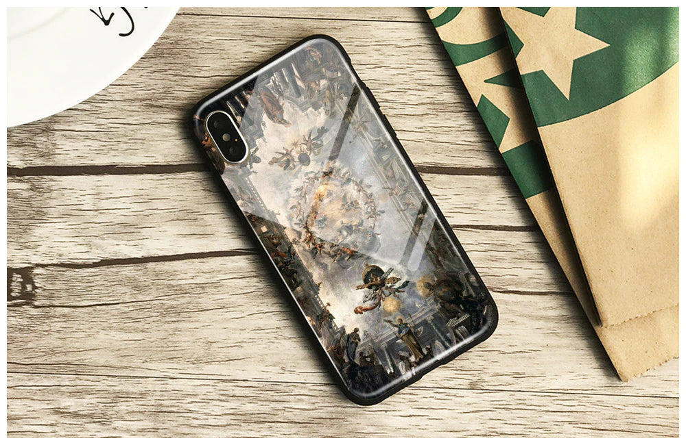 Renaissance Art Painting iPhone Case Cover Tempered Glass Soft Silicone Anti-Knock Phone Case For Apple iPhone 6 6s 7 8 Plus X XR XS MAX