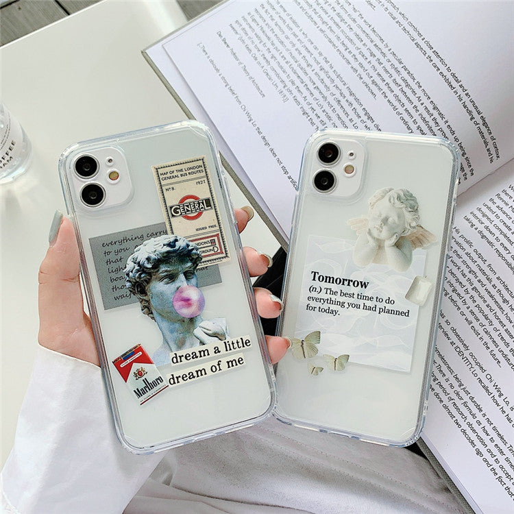Renaissance Michelangelo Arty David Phone Case For iPhone 11 12 Mini Pro XS Max XR X 7 8 Plus Fitted Case Transparent Soft Silicone TPU Cases Retro Cover For iPhone