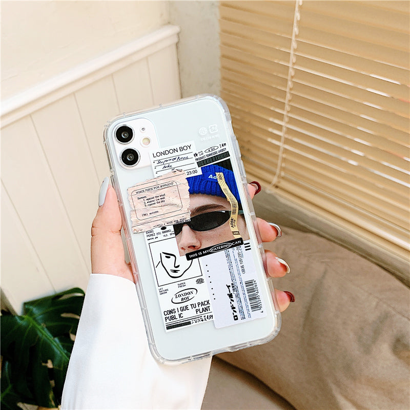 Trendy Bar Code Labels & Stickers Phone Case For iPhone 12Pro 11Pro  12 Mini XS Max X XR 7 8 Plus Soft TPU Anti-Knock Airbag Cover Fitted Case For iPhone