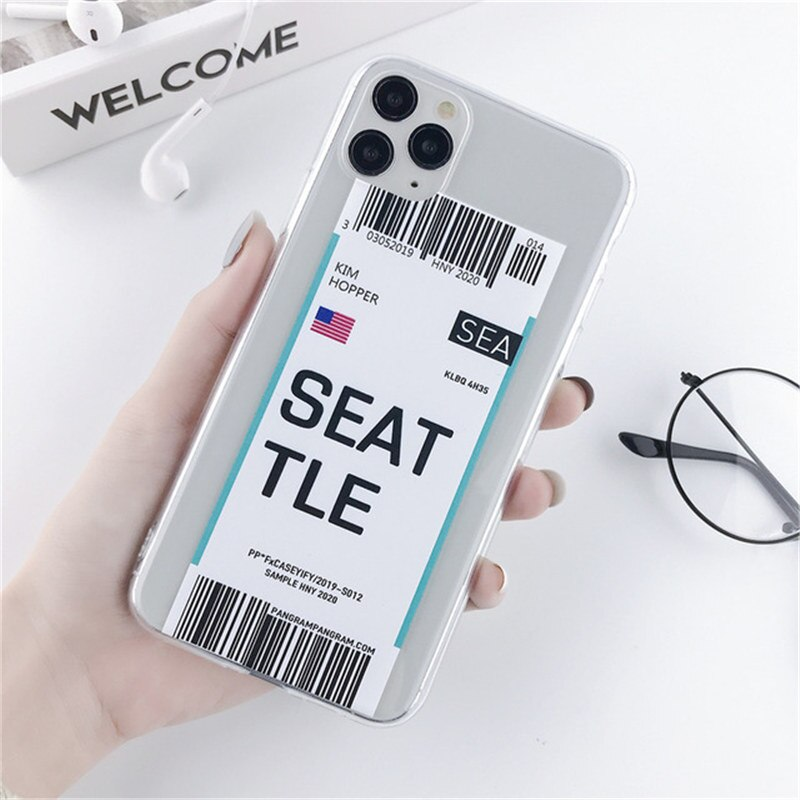 Retro City Bar Code Boarding Pass Label Transparent Phone Case For iPhone 11 Pro XR X XS Max 7 8 6 6S Plus 5 SE Soft TPU Back Cover For iPhone