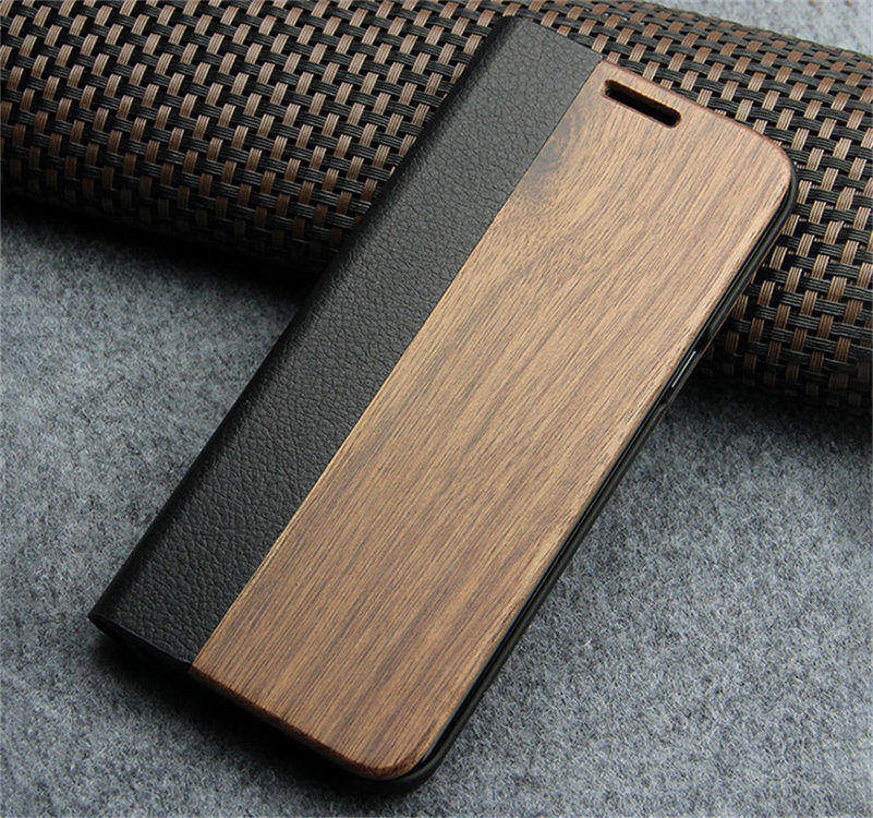 Retro Leather Flip Case for iPhone 7 iPhone 8 Case Natural Real Wood Case  For iPhone 7 8 Plus Vintage Phone Cover with Card Holder Stand