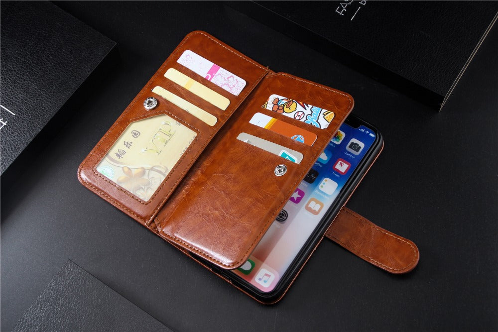Retro Leather Wallet Flip Case For iPhone X XS MAX XR 5 5s SE 6 6S 7 Plus 8 Plus Case Leather Book Design Multiple Card Holder Wallet Phone Case