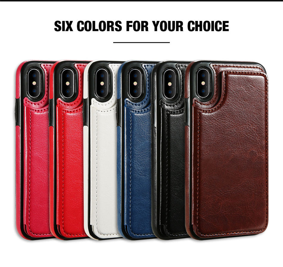Retro PU Leather Business Case For iPhone X 6 6s 7 8 Plus XS 5S SE For iPhone XS Max XR 10 Multi Card Holder Phone Cases