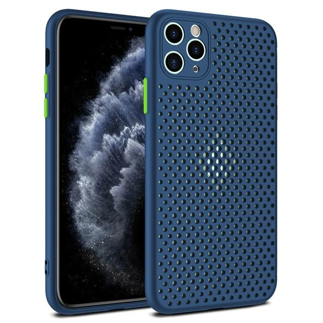 Retro Ventilated Breathable Case For iPhone 11 11Pro Max XR XS Max X 8 7 6S Plus SE 2020 11 Pro soft TPU Heat Dissipation iPhone Case