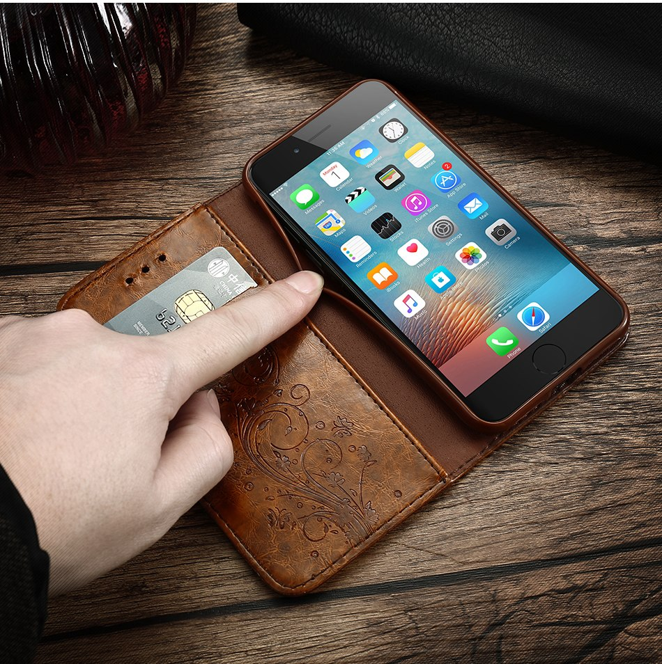 Retro Vintage Flip Leather Wallet Case For iPhone 7 8 Plus X XS Max Embossed Phone Cover For iPhone 6 6s Plus 5 5s SE Flip Case