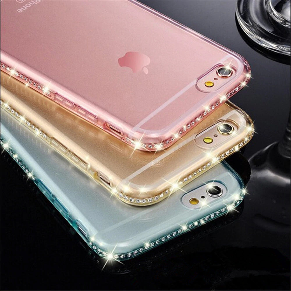 Rhinestone Bling Phone Case for iPhone 6 6S 8 7 Plus Soft TPU Transparent Cover with Diamond Sparkly Bumper Case For iPhone X XR XS Max 5 5s SE