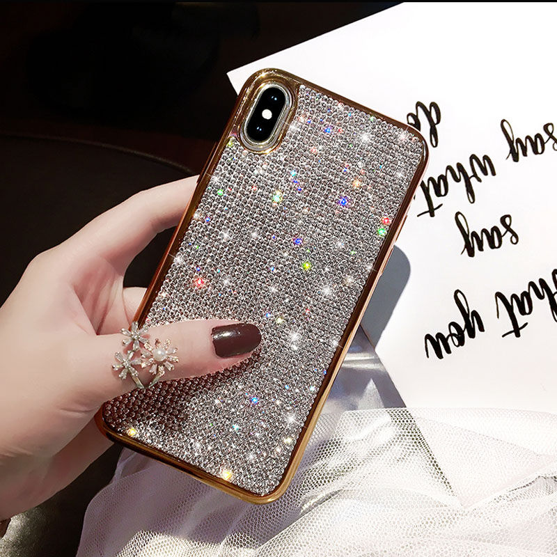 Rhinestone Diamond Case for iphone X XS XR XS Max 7 8 Plus 6 6S Soft Silicone TPU Girly Luxury Bling Glitter Protective Back Cover Rose Gold & Gold Silver