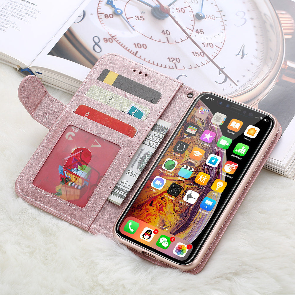 Rose Gold Luxury Soft PU Leather Magnetic Flip Folio Wallet Phone Case For iPhone 11 Pro Max X Xs Xr 6 6S 7 8 Plus Card Holder Zipper Pouch