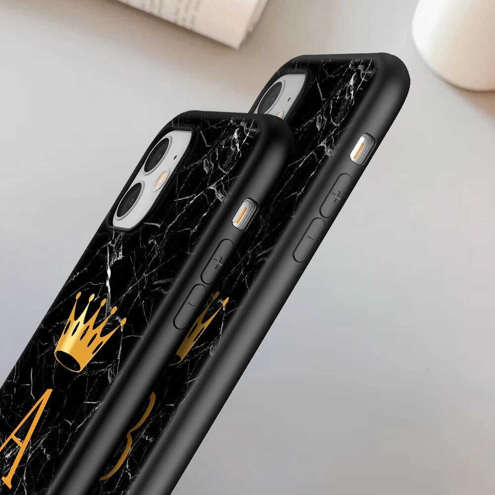 Royal Black Marble A-Z Letter Initial Phone Case For iPhone 13 Pro Max 12 Pro Max 11 Pro Max 13 Mini Cute Black Soft TPU Mobile Phone Case For Couples