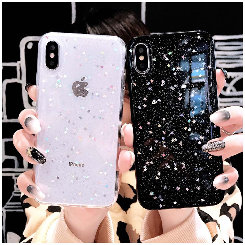 Shimmering Hearts And Stars Subtle Bling Glitter Soft TPU Fitted Phone Cases For iPhone XS Max XR X 8 7 6 6S Plus 5 5S SE Transparent Case
