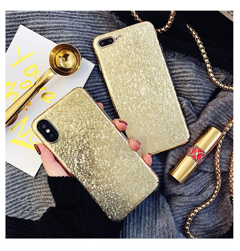 Shimmering Shiny Metallic Gold Case For iPhone XS Max XR X 6 6s 8 7 Plus Glittering Red Silver Purple Gold Fitted Case iPhone Case Back Cover