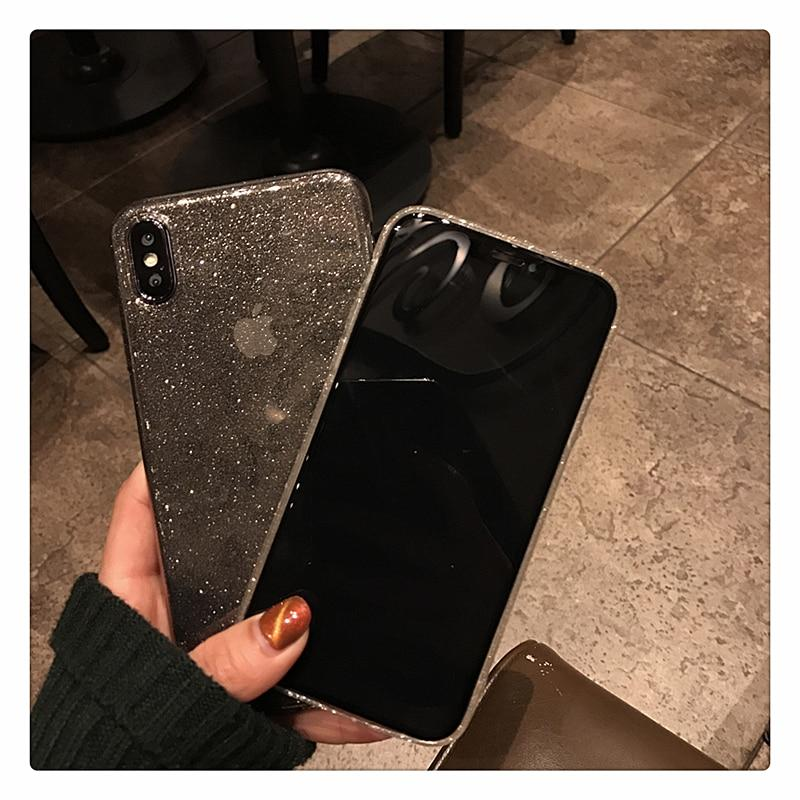 Shiny Glitter Powder Transparent Shockproof Black Phone Case For iPhone 11 Pro XR XS Max 8 7 Plus 6S Bling Soft TPU Back Cover