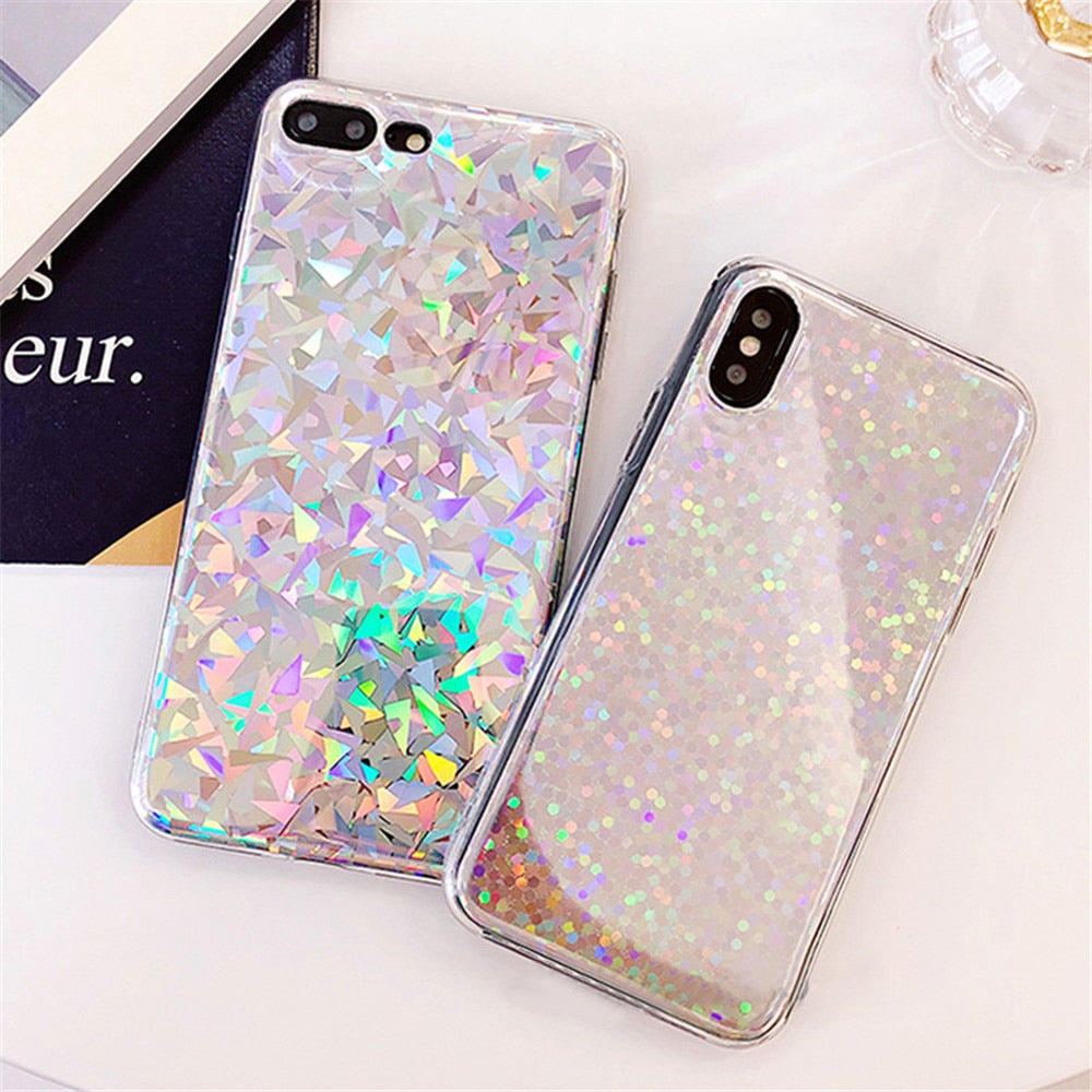 Shiny Laser Light Glimmering Color Phone Case For iPhone X XR XS Max 8 7 6 6s Plus Shimmering Geometry Patterns Shiny Back Cover Cases for iPhone
