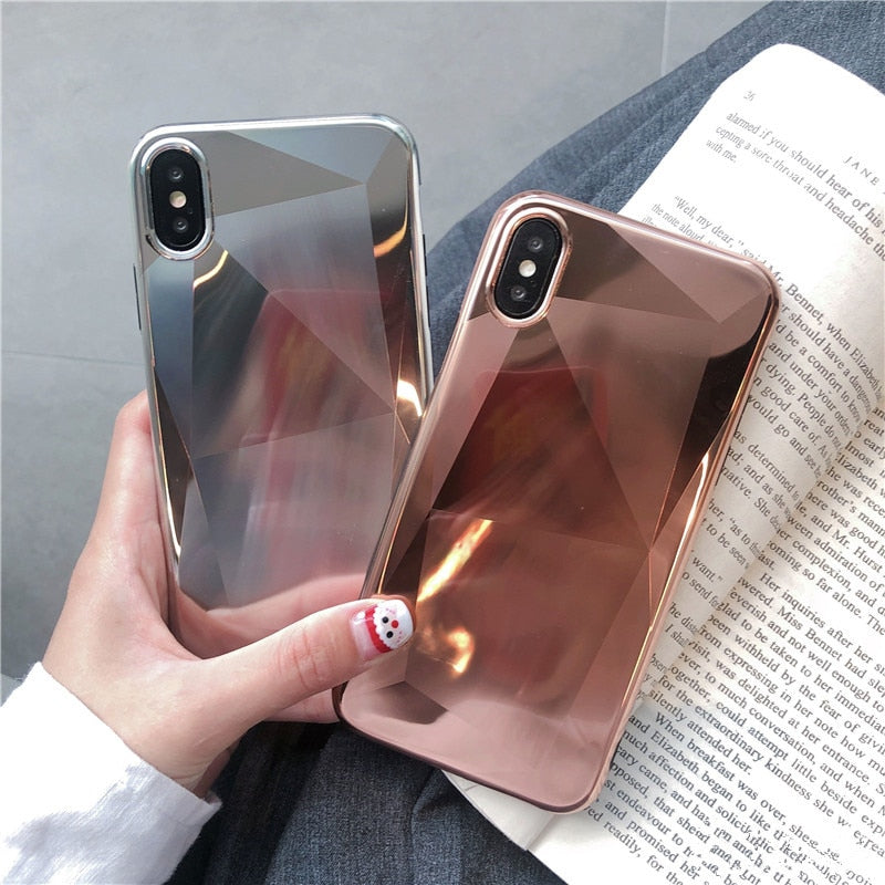 Shiny Metallic Crystal Plating Mirror Phone Cases for iPhone XR XS Max Case Subtle Glossy Geometric Silicone Case For iPhone 6 6s 7 8 Plus Back Cover
