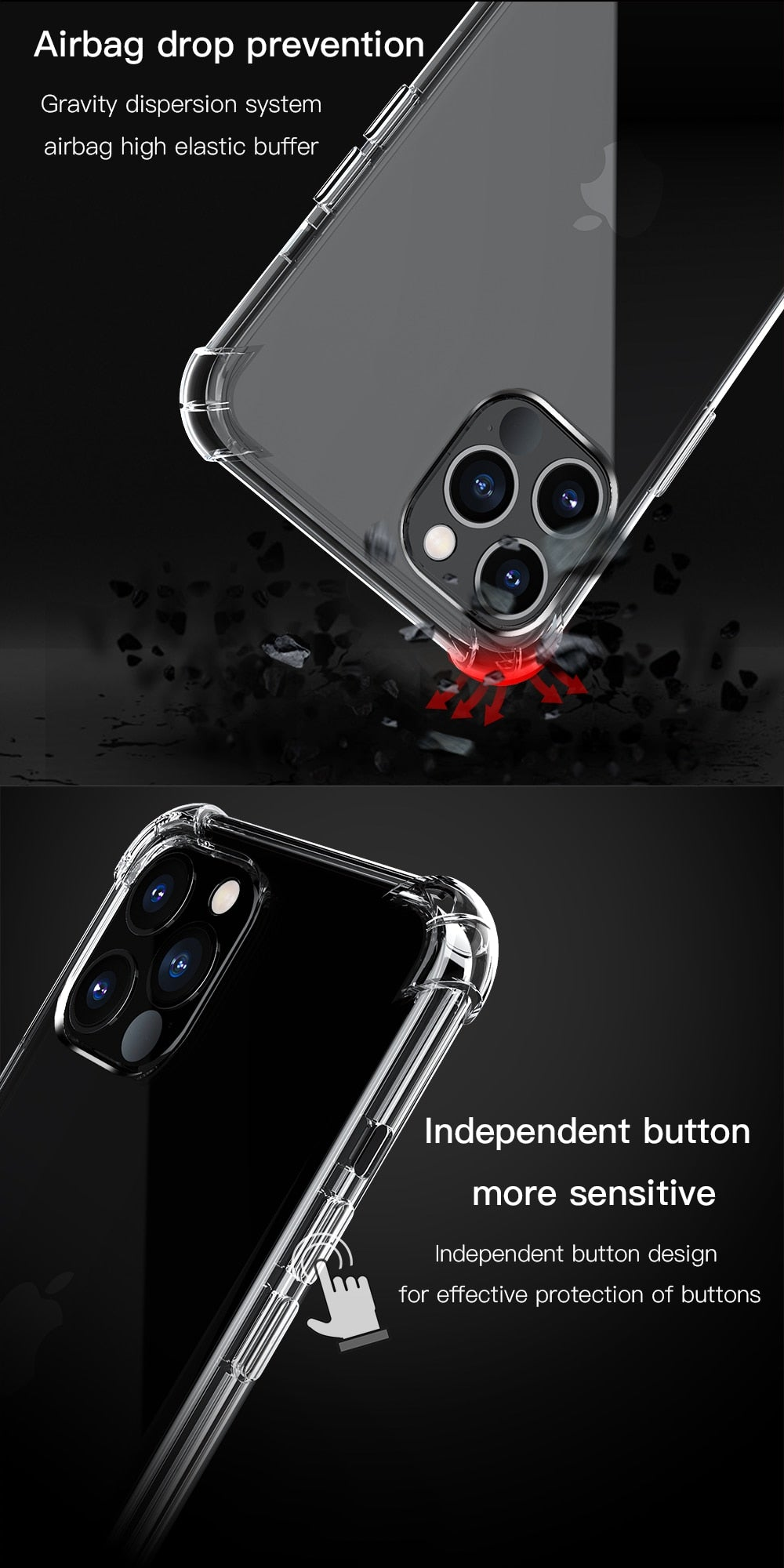 Shockproof Airbag Bumper Transparent Soft Silicone Fitted Back Cover Case for iPhone 12 12 Mini iPhone 12 Pro 11 Pro Max X XR With Increased Lens Protection