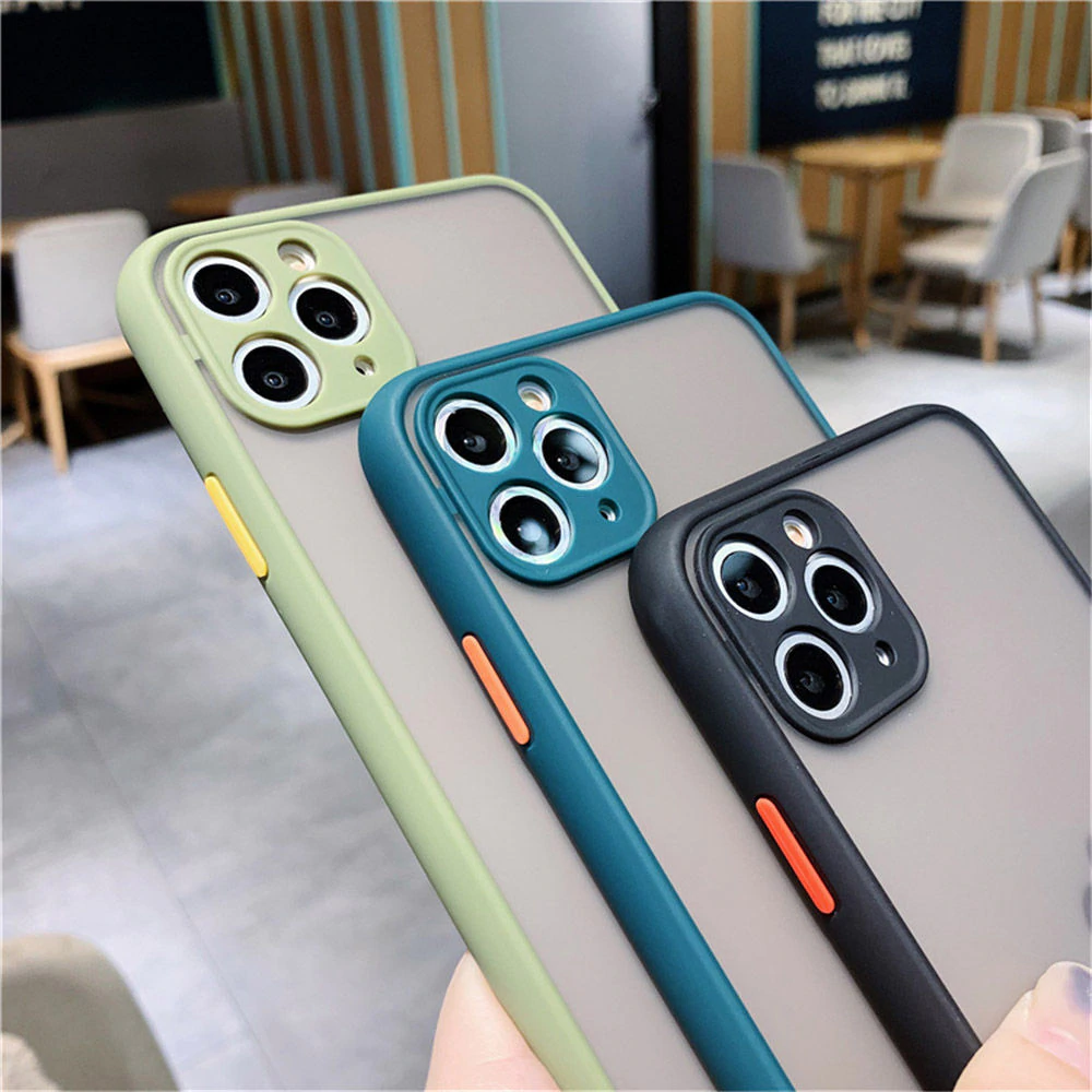 Shockproof Candy Matte Bumper Phone Case For iPhone 11 Pro XS Max XR X 8 7 6 6S Plus Camera Lens Protection Color Transparent Hard PC Back Cover