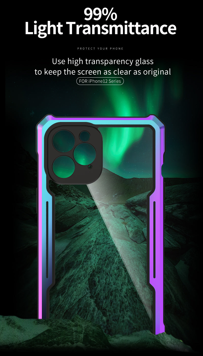 Shockproof Colorful Rainbow Metallic Armor Case For iPhone 12 Pro MAX TPU Bumper Metal Frame Anti-knock Transparent Cover For iPhone 12 Pro Mini