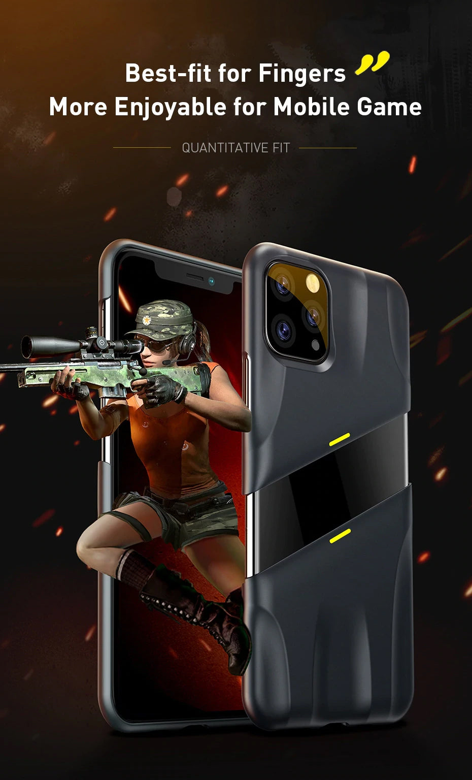 Shockproof Ergonomic Half Wrapped Gaming Case Supports Wireless Charging for iPhone 11 Pro Max 5.8inch 6.1inch 6.8inch