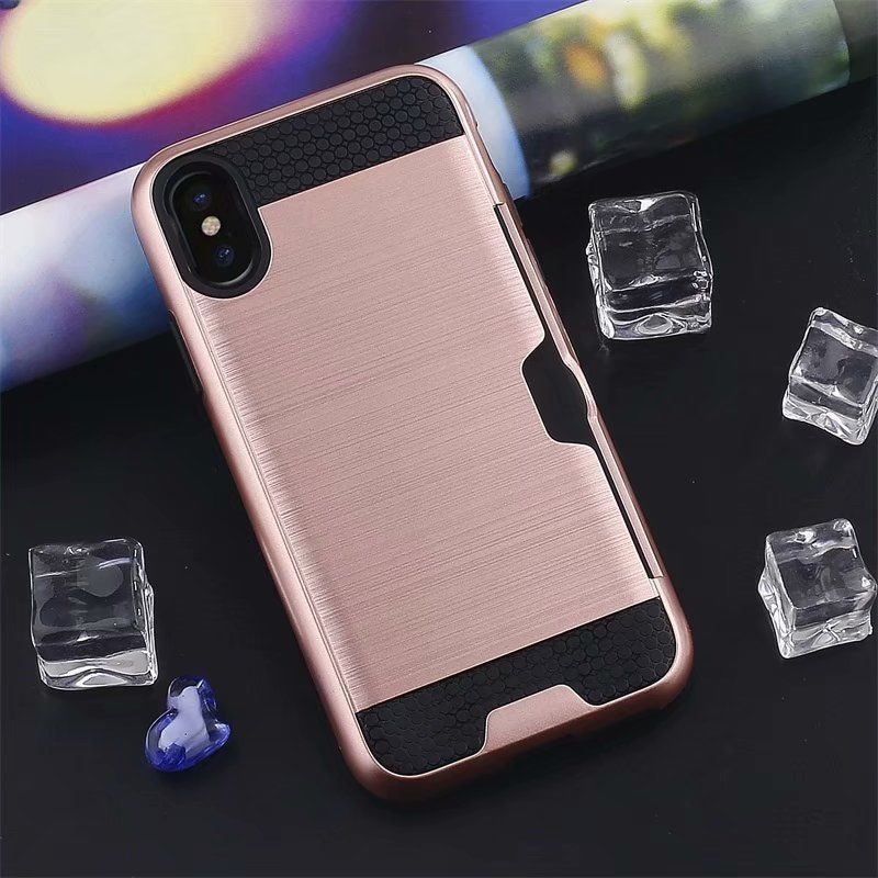 Shockproof Hybrid Armor Credit Card Holder Slot Case For iPhone 7 6 6S 8 5 5S Plus SE iPhone X XS MAX XR 11 Pro Heavy Duty Phone Case