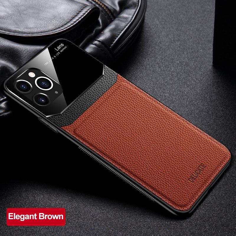 Shockproof Luxury PU Leather Mirror Glass Case for iPhone 11 Pro Max Business Phone Case Back Cover For iPhone SE 2020 7 8 Plus 6S XR XS Max