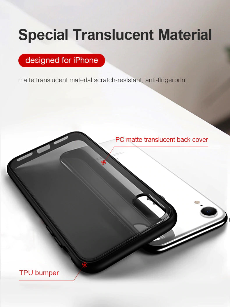Shockproof Matte Translucent Back Cover Fitted Case For iPhone X XS Max XR 8 7 6 6S Luxury Business Case With Soft TPU Bumper For iPhone