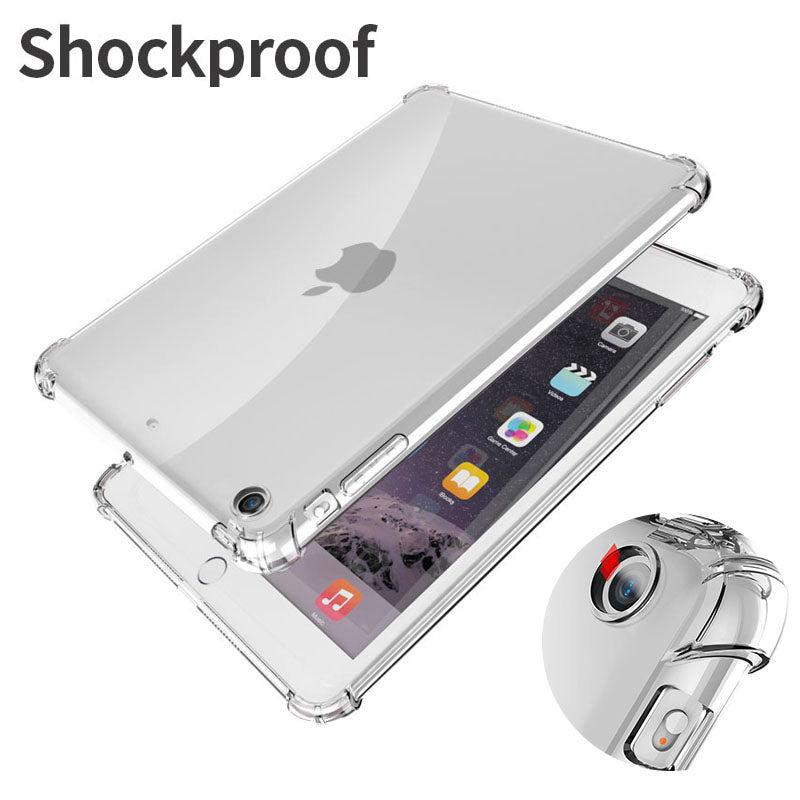 Shockproof Transparent Case for iPad Mini Air Pro 1 2 3 4 5 6 7 8 7.9 9.7 10.2 10.5 11 Drop Resistant Clear Silicone Back Cover for iPad Air 2