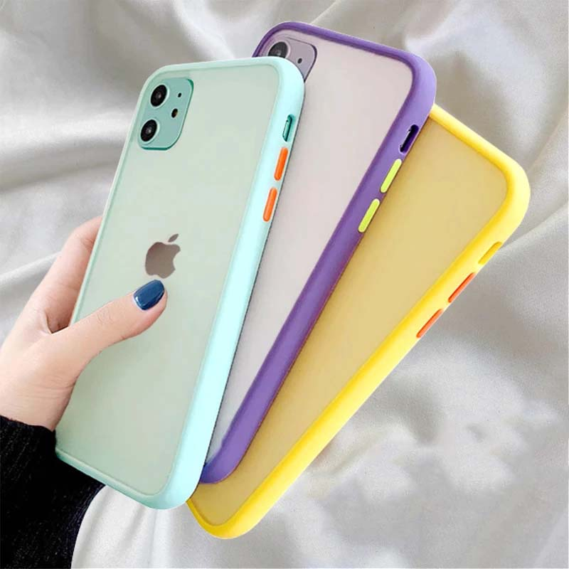 Simple Matte Pastel Colors Shockproof Soft TPU Silicone Clear Case Bumper Phone Case for iPhone 11 Pro XR X XS Max 12 13 6 8 7 Plus