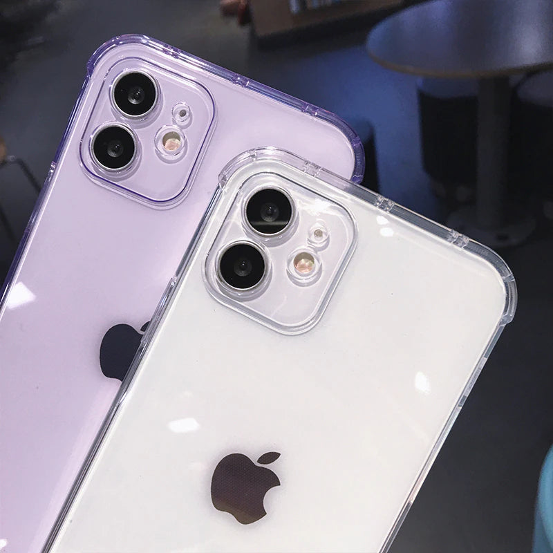 Simple Stylish Transparent Straight Edge Silicone Case For iPhone 12 Mini 11 Pro Max 7 8 Plus X XR XS Max SE 2020 Fashion Case With Camera Protection