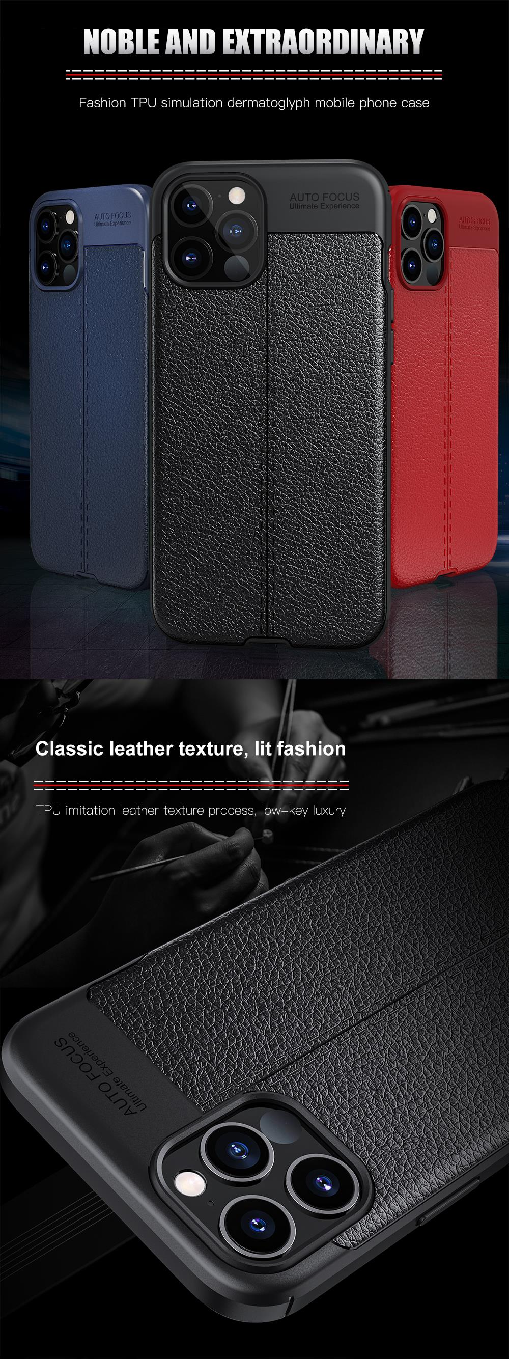 Smart Leather Grained Texture Soft Silicon Phone Case for iPhone 12 Pro Max TPU Shockproof Black Cover Heavy Duty Protection for iPhone 12 mini 2020 New