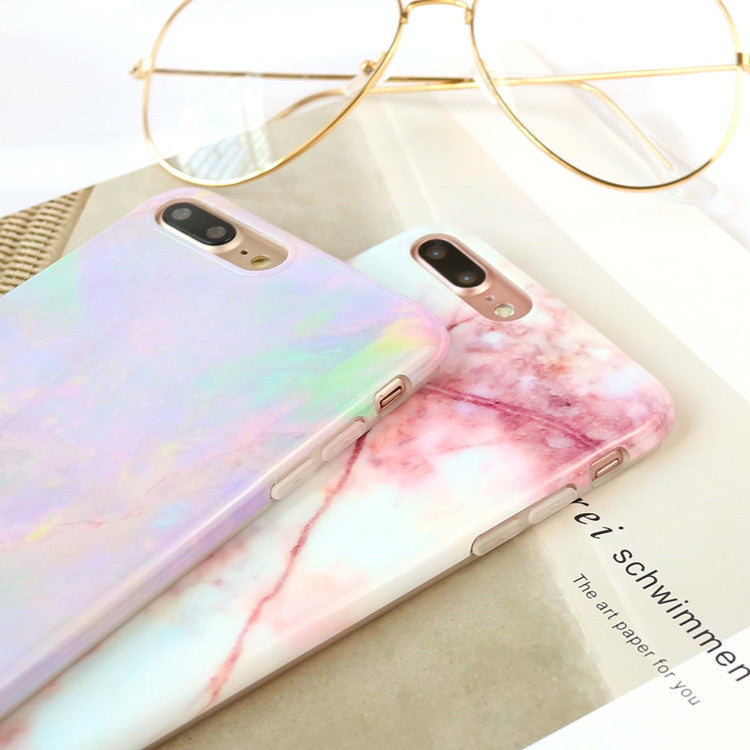 Smooth Marble Pattern iPhone Cool Colored Granite Cases For iPhone 6 Case 7 6S Plus iPhone 8 Back Cover Fashion Soft IMD Case
