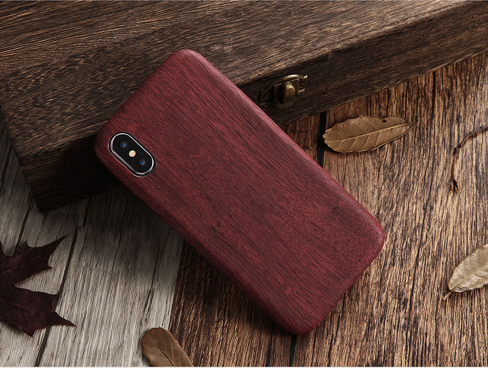 Smooth Wood Case For iPhone X 10 Fitted Cases For iPhone 6 7 8 Plus Vintage Leather PU Wood Pattern iPhone 5 5s SE XS Max XR Phone Case