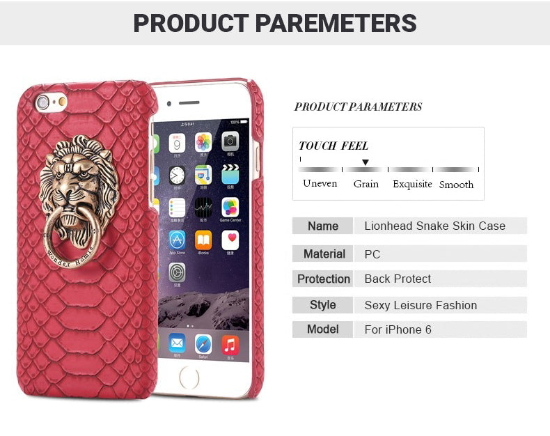Snakeskin Lion Ring Case For iPhone 6 6S 7 8 Plus X Finger Ring Holder Kickstand Half Wrapped Case For iPhone X 5 5S SE PU Leather Back Cover