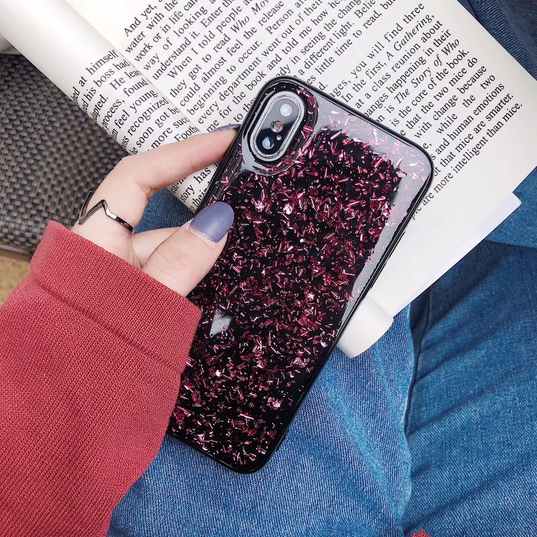 Soft Black Gold Glitter Case For iPhone X XR XS MAX 10 7 8 6 6s Plus Glamour Sparkle Foil Silicone TPU Fashion Protective Back Cover