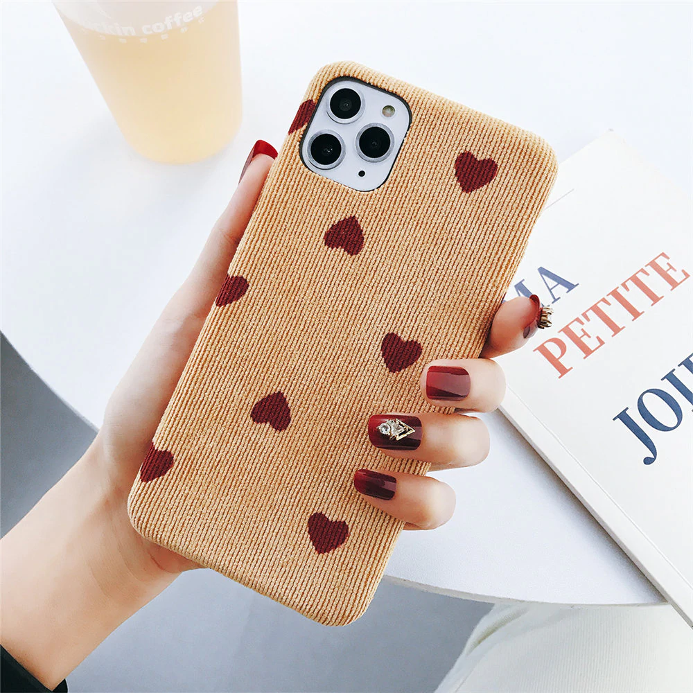 Soft Cloth Corduroy Fabric Love Heart Phone Case For iPhone 11 Pro Max 6 6s 7 8 Plus X XS XR Xs Max Retro Vintage Style Warm Winter Case For iPhone