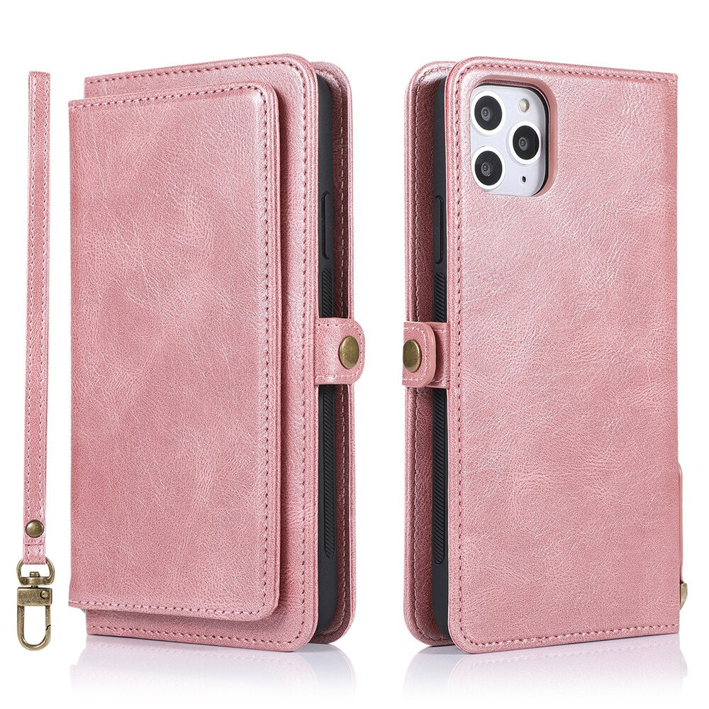 Soft TPU Leather Wallet Card Holder Case For iPhone 11 Pro Max Leather Cover For iPhone SE 2020 XS Max XR X 6 6s 7 8 Plus Flip Case For iPhone With Strap