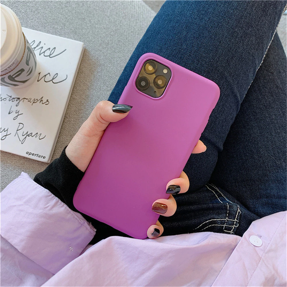 Solid Candy Color Matte Design Silicone Phone Case iPhone 11 Pro X XR XS Max 7 8 6 6s Plus Candy Solid Color Frosted Matte Case Soft TPU Back Cover