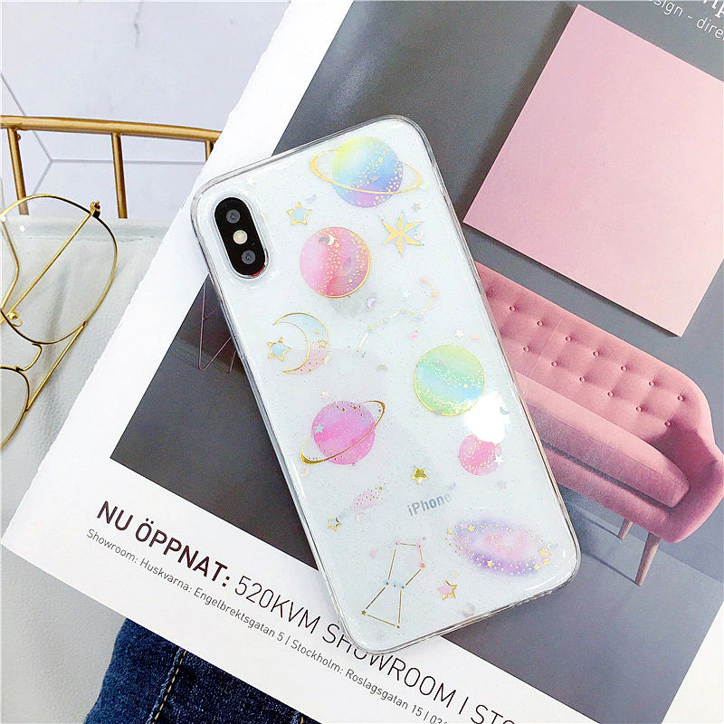 Space Planets Moon And Stars Phone Case For iPhone XS XR XS Max X 5 5S 6 6S 7 8 Plus X Transparent Anti-Knock TPU Back Cover For iPhone