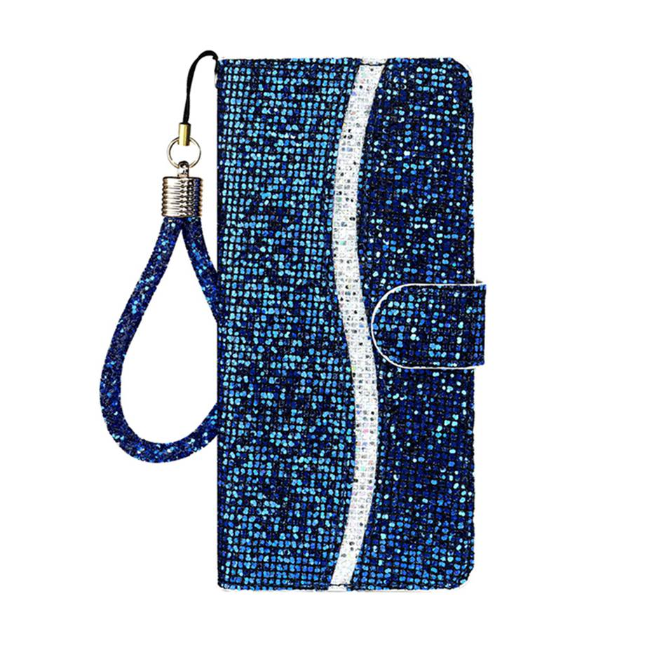 Sparkling Soft PU Leather Glitter Bling Flip Case For iPhone 11 Pro X XS XR Max Card Holder Case For iPhone 6 7 8 Plus SE 2020 Wallet Style Flip Case With Strap