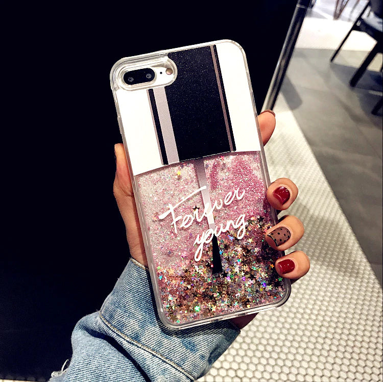 Sparkly Bling Liquid Glitter Phone Cover For iPhone X Case Girly Case For iPhone 7 6 8 Plus Forever Young Nail Polish Style Girly Cover For iPhone 6 6S XR XS Max