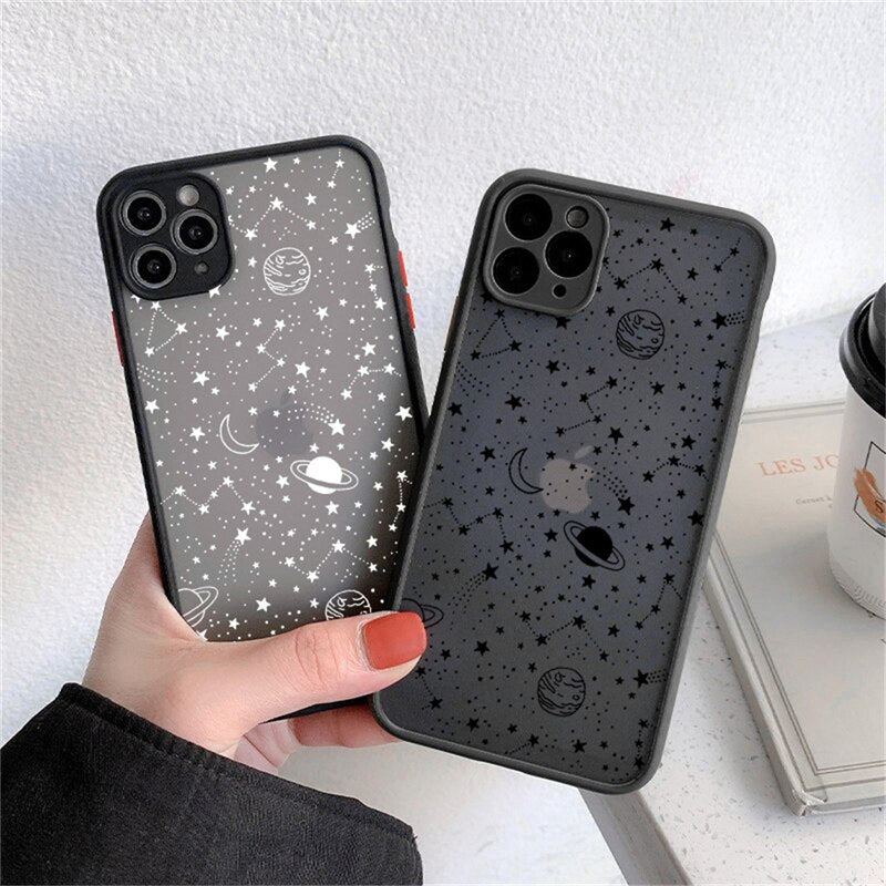 Starry Nights Phone Case For iPhone 12 Pro Max 13 11 Pro Max 7 8 Plus XS Max XR 12 Mini X SE2020 Moon Planet Stars Translucent Cover For iPhone