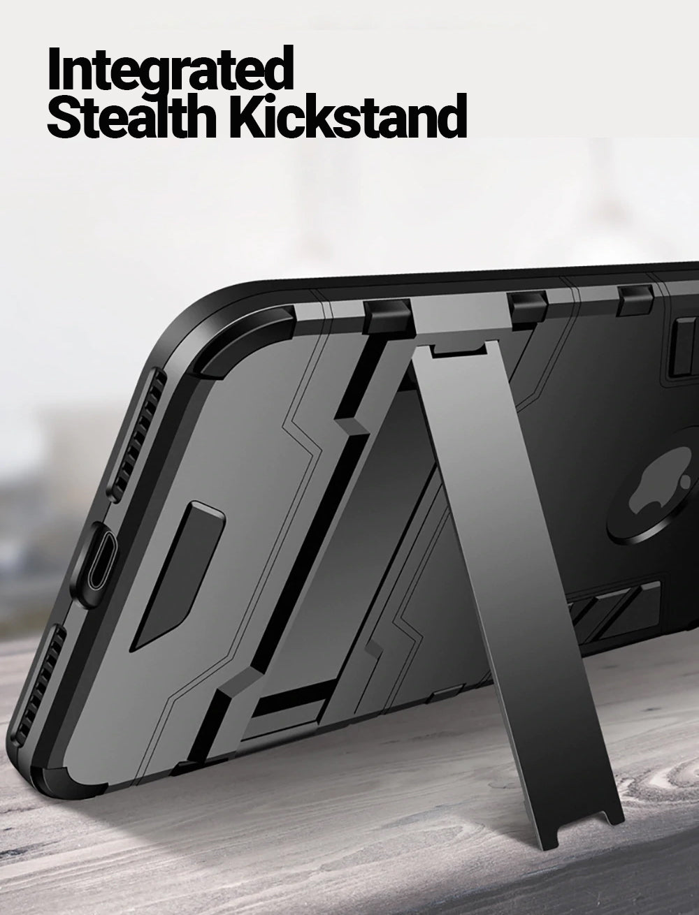 Stealth Armor Phone Case For Apple iPhone X 8 7 Plus Shockproof Heavy Duty Protective Hard Case With Kickstand For iPhone 6 6s Plus 5 5s