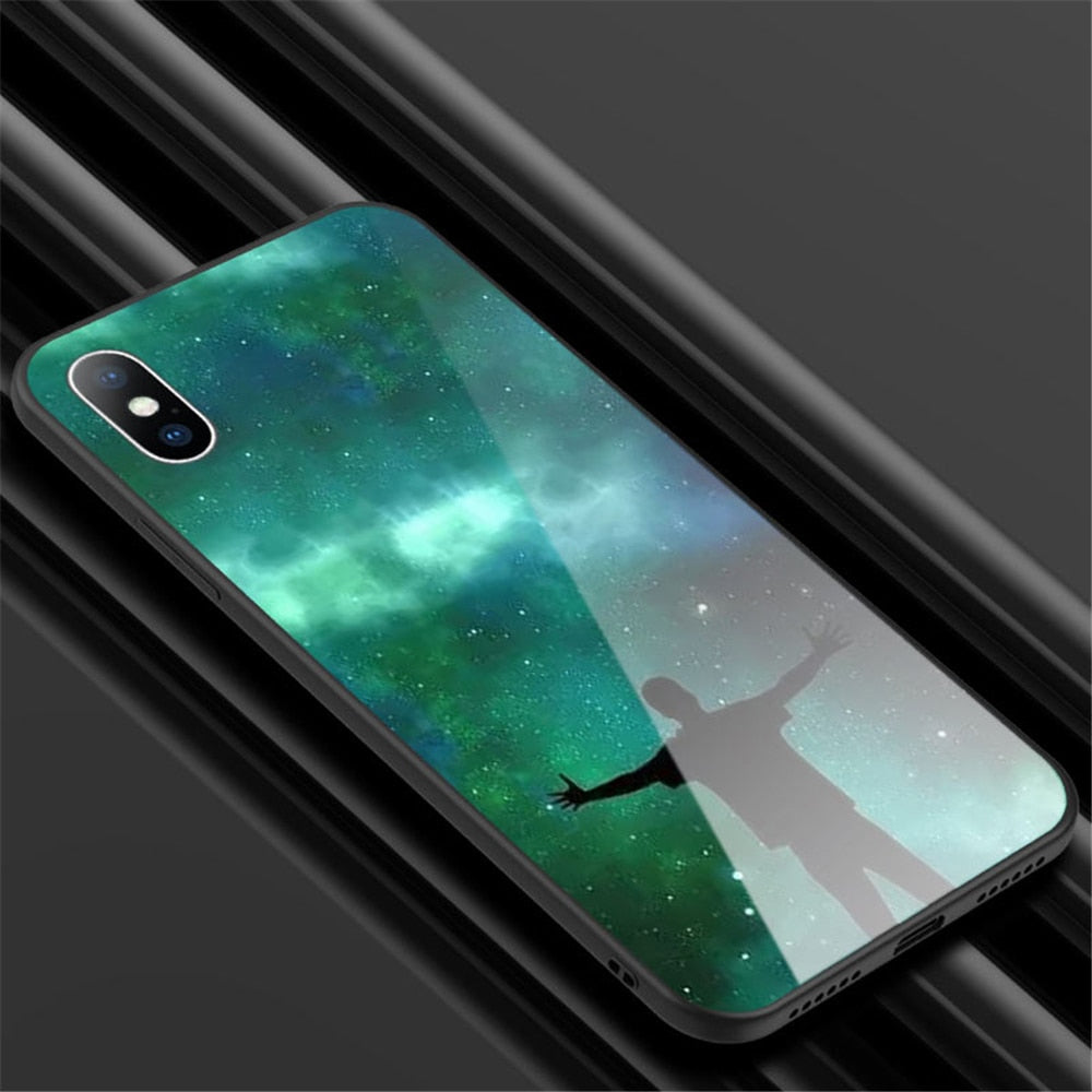 Stunning Earth Moon And Sun Glossy Glass Phone Case For iPhone 6 6s 7 8 Plus X XR XS Max Luxury Fantasy Planet Phone Case For iPhone X