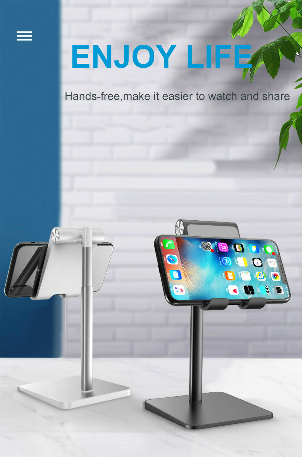 Tablet Desktop Stand Phone Holder iPad Pro 11 10.5 9.7 Mini Aluminum Stand For Holding Tablet Or Phone For Work For Video Calls Fits Most Phones Tablets